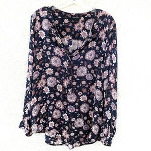 Lucky Brand Floral Popover Blouse